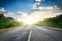 在日落、旅行和运输概念、多云天空和太阳的高速公路路在天际,美好的夏天风景 图库摄影