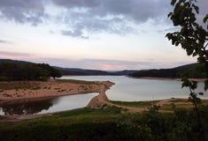 在日落之后在Morvan,法国 免版税库存照片