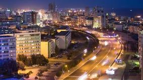 在日落以后的阿克套市在里海天的岸对夜timelapse的 卡扎克斯坦 影视素材