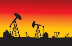 在日落传染媒介例证的油泵 库存照片