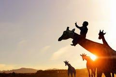 在日落光的自然徒步旅行队风景  免版税库存照片