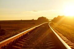 在日落光的铁路 库存图片