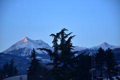 在日落前的布雷萨诺内阿尔卑斯 图库摄影