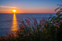 在日落前面的草地在Leam PromThep海角在普吉岛 库存照片