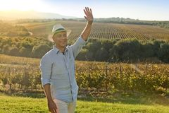在日落前面的酿酒商微笑的和挥动的手在葡萄围场 免版税库存照片
