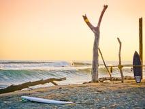 在日落前,加利福尼亚海滩 在沙子的两个冲浪板 海洋太平洋 库存图片