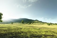 在日落和一个美好的绿色领域期间的小山谷 库存照片
