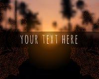 在日落回归线被弄脏的背景的花卉坛场 免版税库存照片
