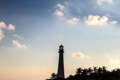 在日落在佛罗里达国家公园, Key Biscayne的灯塔 免版税图库摄影