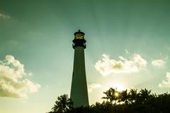 在日落在佛罗里达国家公园, Key Biscayne的灯塔 库存照片