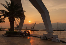 在日落在波尔图黑山 库存照片