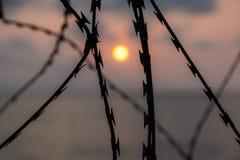 在日落天空被弄脏的背景的剃刀 免版税图库摄影