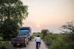 在日落女孩骑沿一条混凝土路的一辆自行车 免版税库存照片