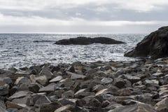 在日落小时,沿着Lofoten海岛的石海滨在挪威 库存图片