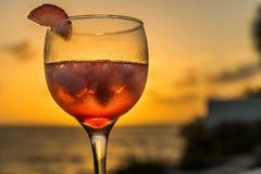在日落库拉索岛景色的饮料 图库摄影