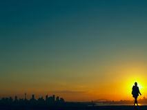 在日落悉尼的澳洲 库存照片