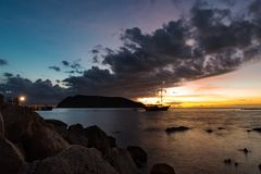 在日落时间的暮色场面 图库摄影