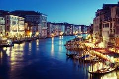 在日落时间的大运河,威尼斯 免版税库存照片