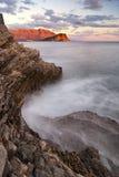 在日落时间,黑山的艺术性的海风景 免版税库存照片