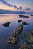 在日落时间,黑山的艺术性的海风景 库存照片