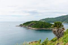 在日落普吉岛的Phromthep海角 免版税库存照片