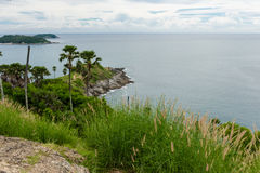 在日落普吉岛的Phromthep海角 库存照片