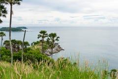 在日落普吉岛的Phromthep海角 库存图片