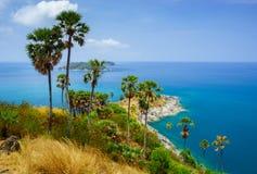 在日落普吉岛,泰国的Phromthep海角 图库摄影