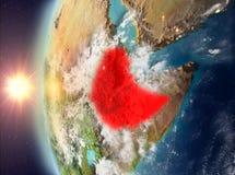 在日落期间的埃塞俄比亚从空间 皇族释放例证