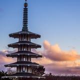 在日落期间的塔 库存照片