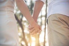 在日落期间的恋人传染性的手 库存照片
