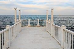在日落期间的海景在乌克兰的Odesa 库存照片
