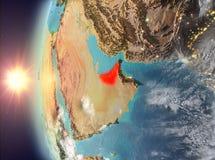 在日落期间的阿联酋从空间 免版税库存图片