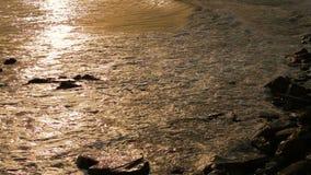 在日落期间,波浪洗涤在海滩的石头 股票视频