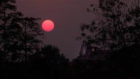 在日落期间,现出轮廓寺庙屋顶有大树的 免版税库存图片