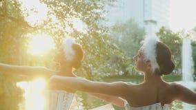 在日落期间,美丽的芭蕾舞女演员跳舞 影视素材