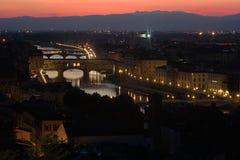 在日落期间的佛罗伦萨 免版税库存照片
