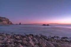 在日落期间的太平洋 库存照片