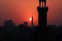 在日落期间的开罗塔 库存图片