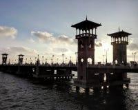 在日落期间的斯坦利桥梁 库存照片