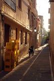在日落期间的狭窄的街道 免版税库存照片