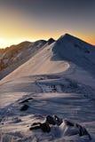 在日落期间的高山 晚上Tatra山风景 库存图片