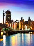 在日落期间的巴塞罗那。卡塔龙尼亚 库存照片