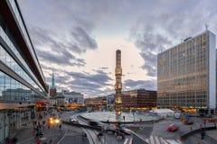 在日落期间, Sergel摆正,斯德哥尔摩市, 库存照片