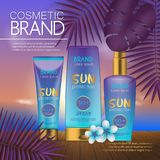 在日落海滩的夏天化妆模板有异乎寻常的棕榈叶背景 现实3D设计 图库摄影