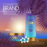 在日落海滩的夏天化妆模板有异乎寻常的棕榈叶背景 现实3D设计 免版税库存照片