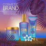 在日落海滩的夏天化妆模板有异乎寻常的棕榈叶背景 现实3D设计 库存图片