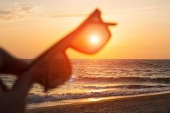 在日落海背景的太阳镜 库存图片