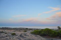 在日落的一个贫瘠海滩 免版税库存照片