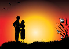 在日落的一对新夫妇 库存图片